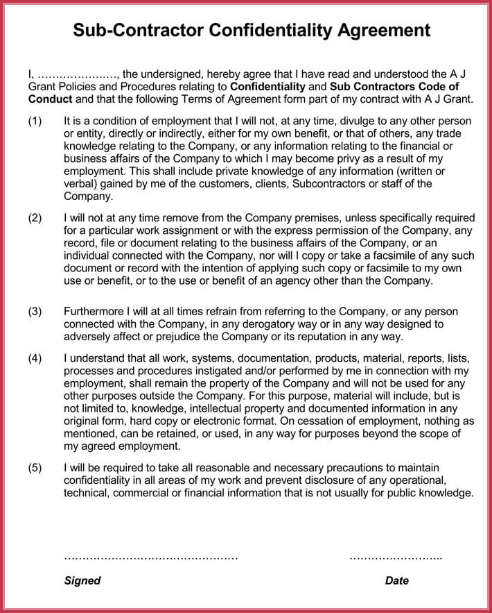 contractor confidentiality agreement format