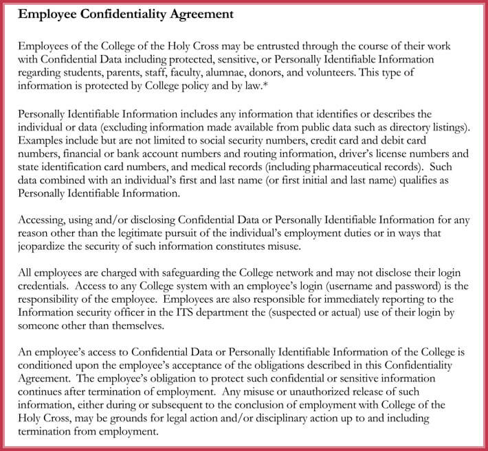 Employee Data Confidential Agreement Format