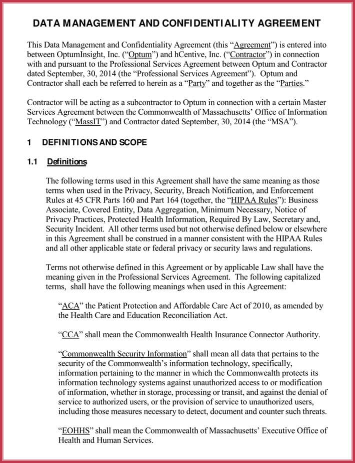 free data confidentiality agreement