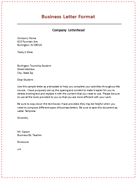 example of professional letter format