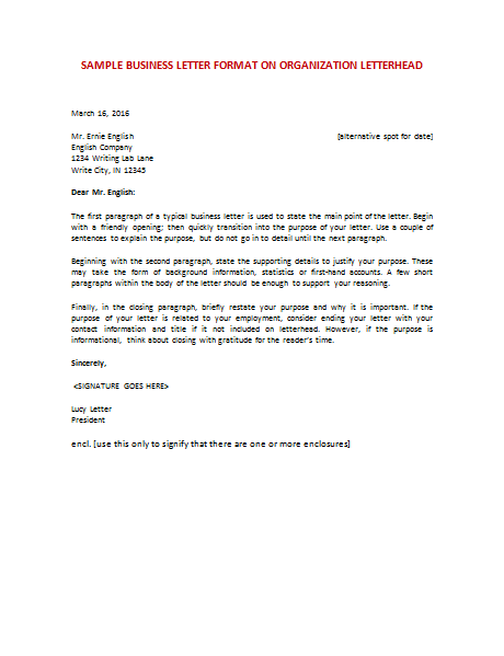 business organization letter format