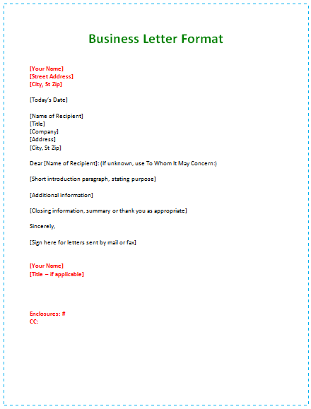 Examples of how to write a business letter