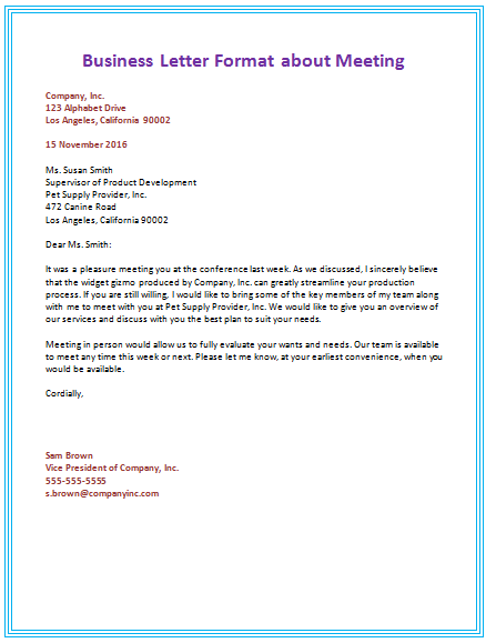 6 samples of business letter format to write a perfect letter 5th business letter about meeting spiritdancerdesigns Gallery