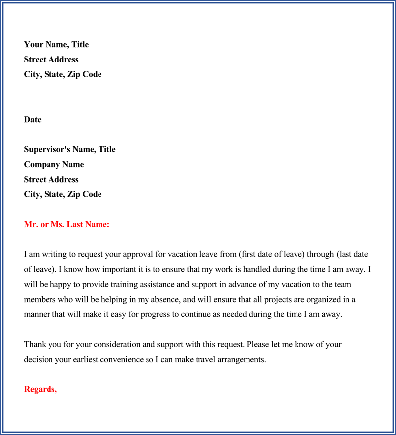 sample of vacation request letter