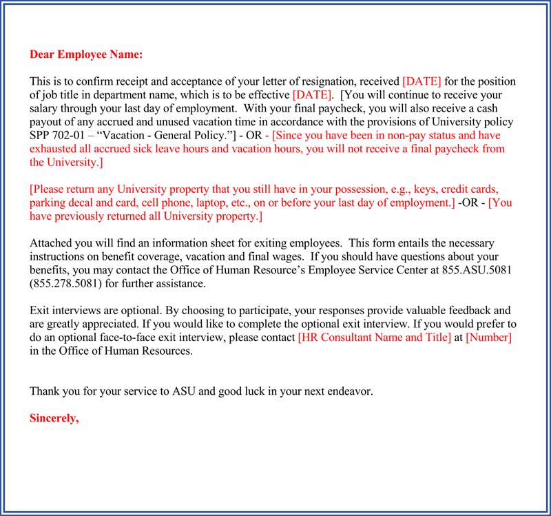 resignation acceptance