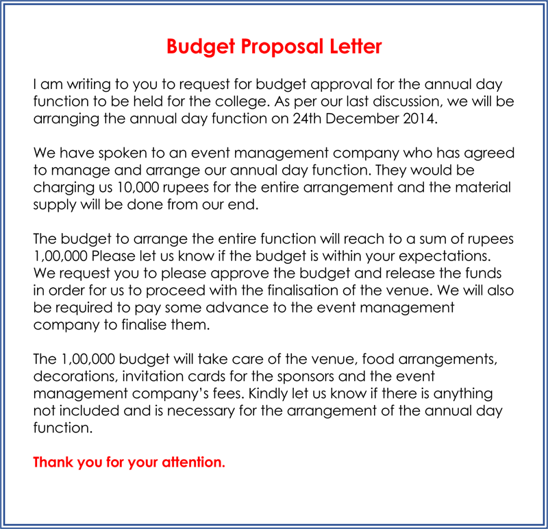 Budget Proposal Example