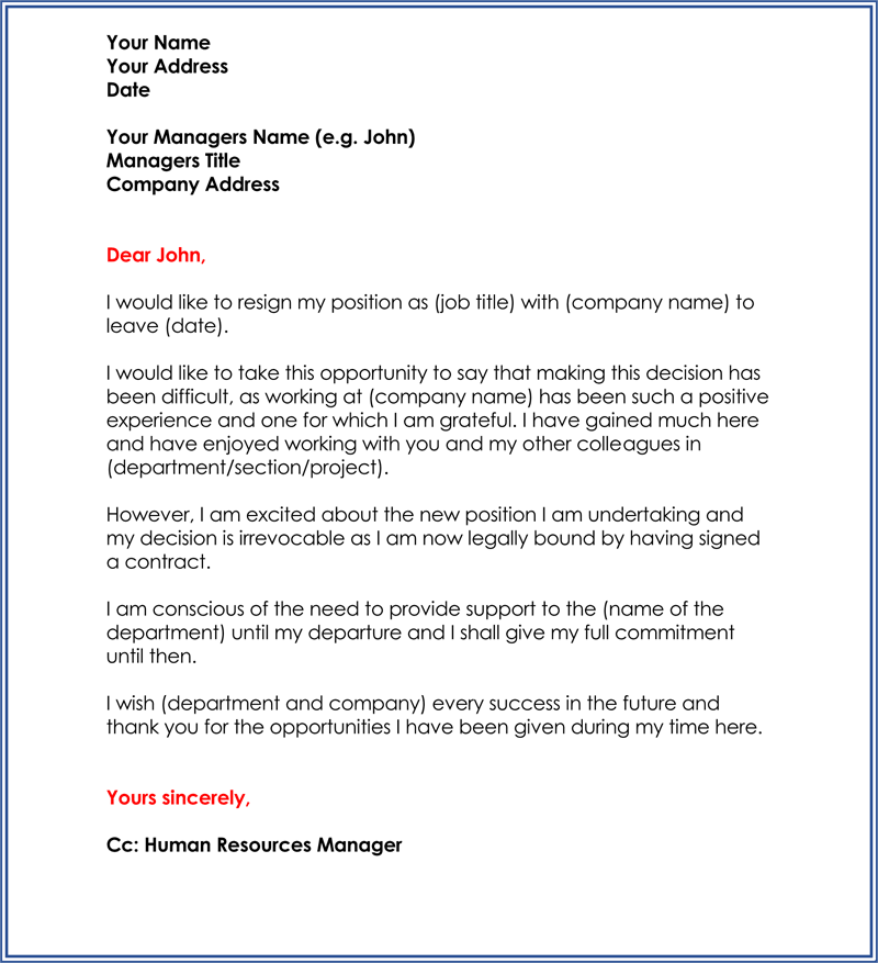 sample of resignation letter printable job resignation letter