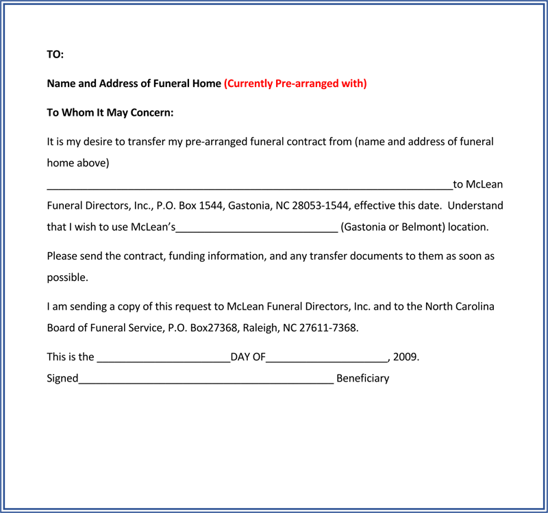 Printable Transfer Request Letter