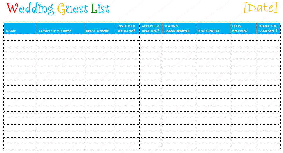 Wedding Guest Planning: Use a Wedding Guest List Template