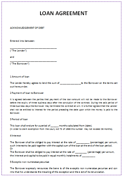 Loan Agreement Sample  Blank Contract Template