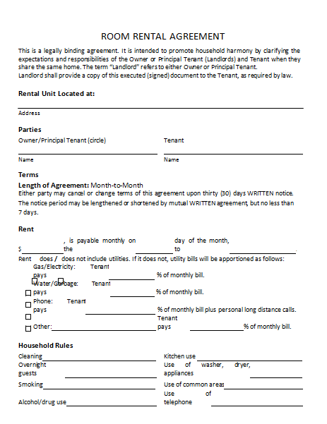 3rd Room Rental Agreement Template :
