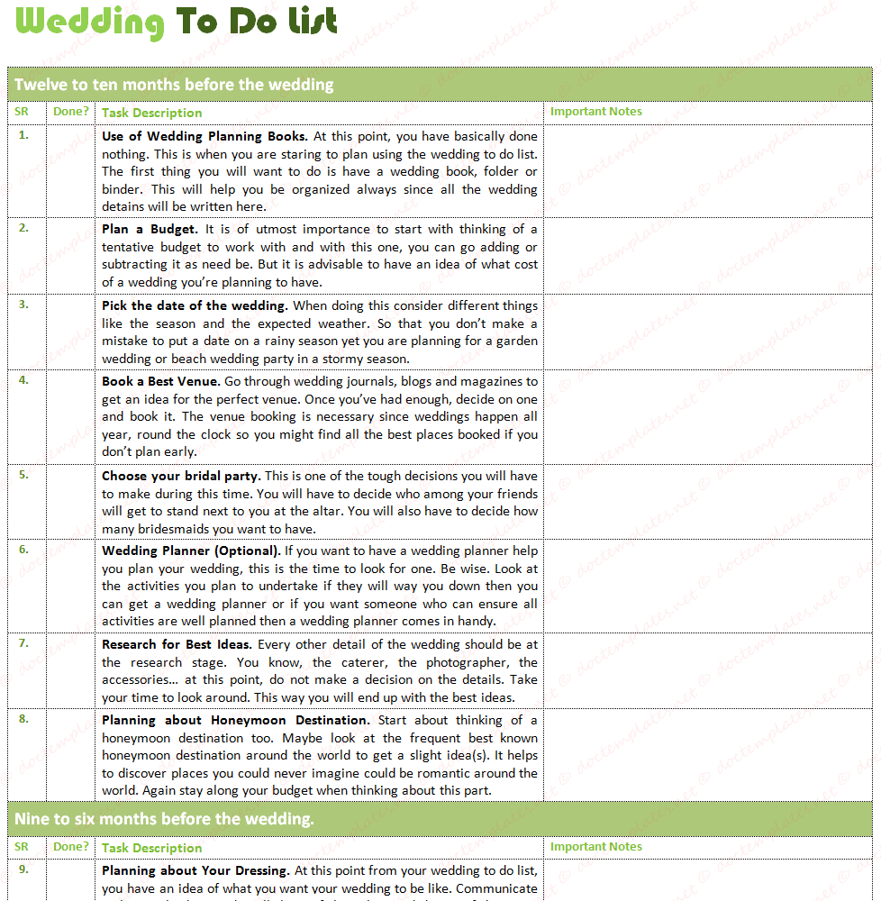 Wedding To Do List Template For Wedding Planning,  Bridal Party List Template