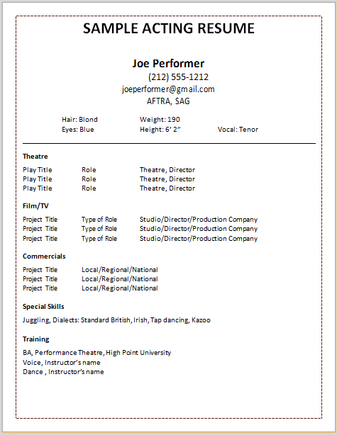acting resume template - Sample Theatre Resume