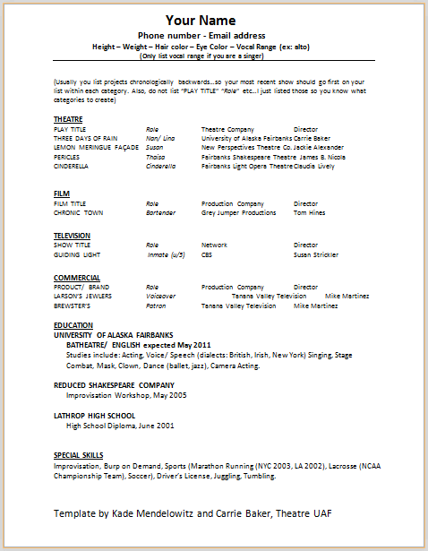 1st acting resume template acting resume format - Theater Resume Example