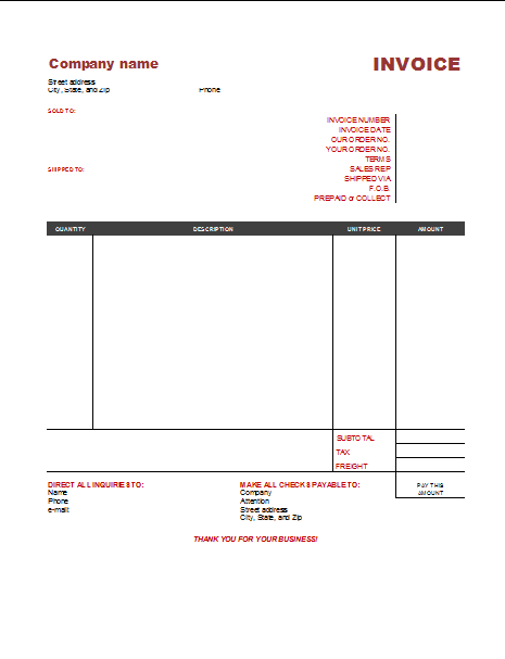 Free Invoice Templates To Build Any Type Of Invoice - Fill in invoice template