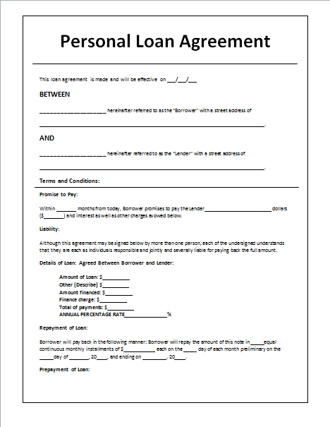 Personal Loan Agreement Template And Sample With Loan Contract Template Word