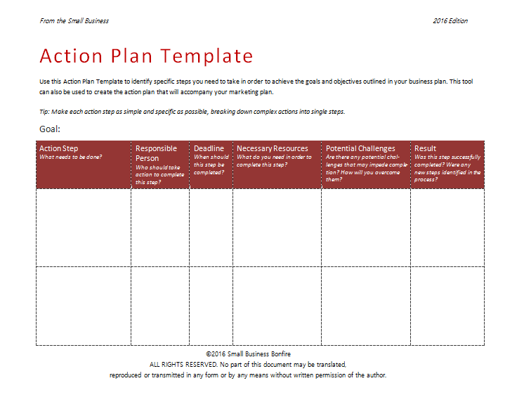 2nd Action Plan Format :  Business Action Plan Template