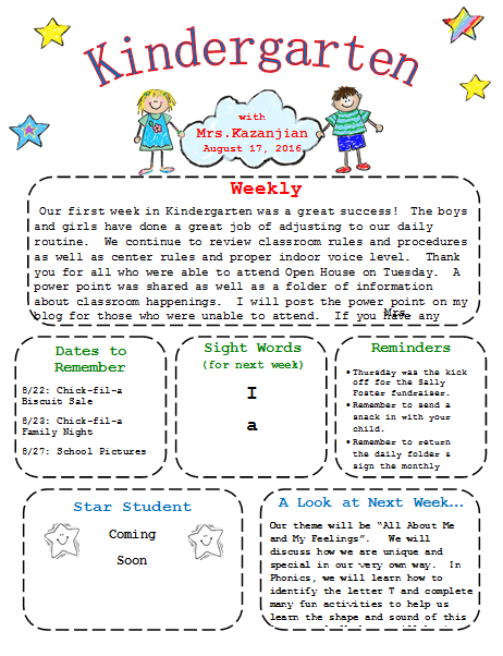Kindergarten Newsletter Template – 3 Free Newsletters