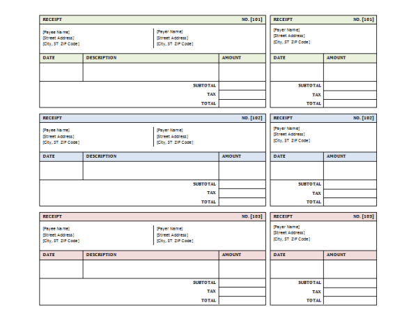 Sales Receipt Template for Microsoft Word