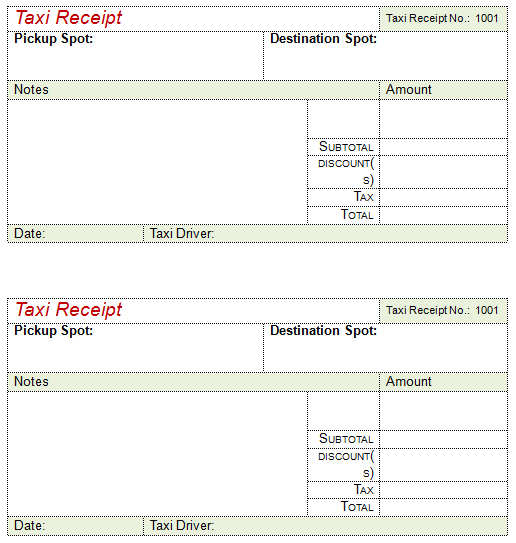 2nd Taxi Receipt Template For Word :  Manual Receipt Template