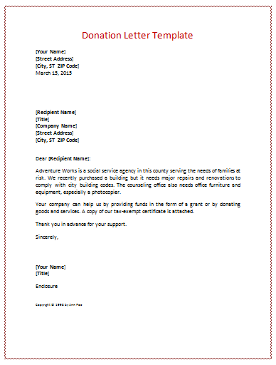 Sample donation letter how to format cover letter for Donation letter template for schools