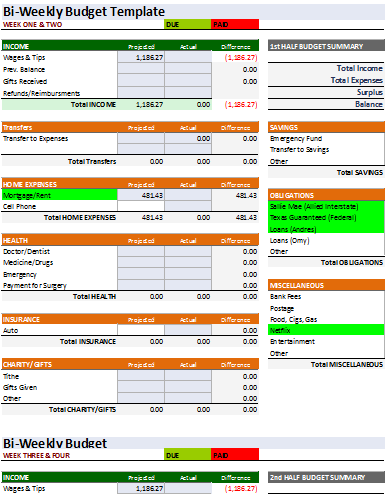 Worksheet Bi Weekly Budget Worksheet bi weekly budget template an easy way to plan a 3rd template