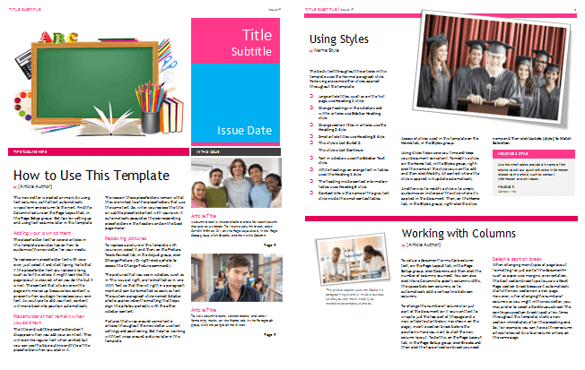 college and high school newsletter template
