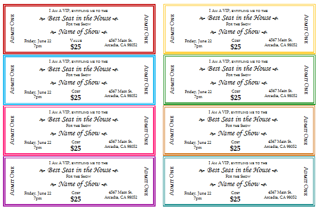 Beautiful 2nd Event Ticket Printable : With Free Event Ticket Templates For Word