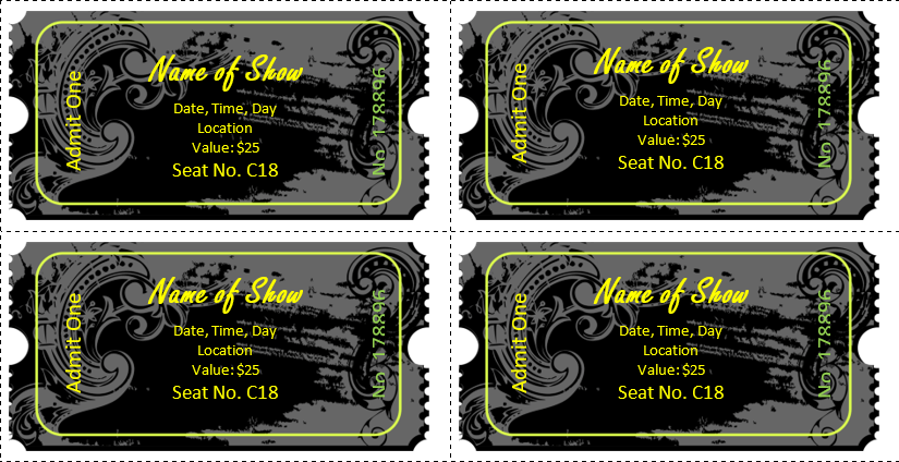 Event Ticket Template (Black Vintage)