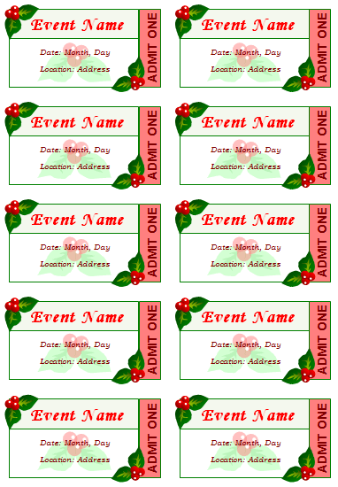 image regarding Free Printable Event Tickets called 12+ Free of charge Party Ticket Templates for Phrase - Create Your Individual Tickets