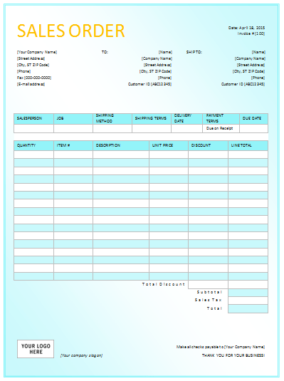 Superb 3rd Sales Order Template For Excel :