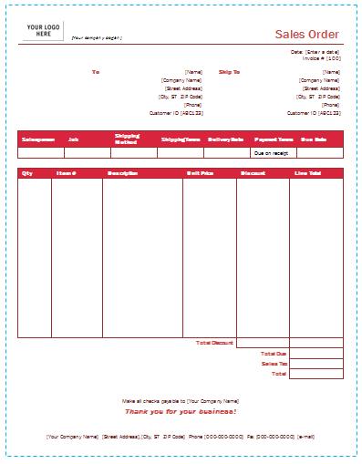 Sales Order Template in DOTX|PDF|XLTX|XLSX Formats