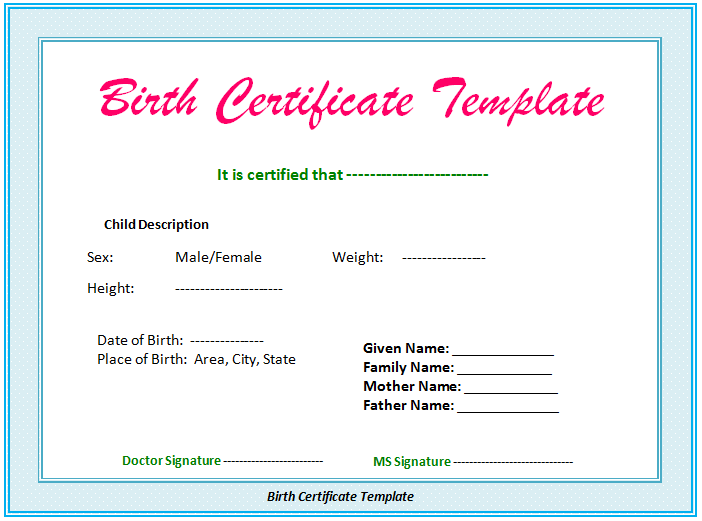 5 birth certificate templates to print free birth certificates