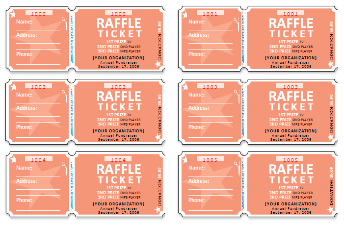 raffle ticket template excel