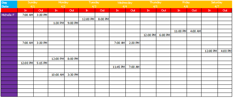 Work Schedule Template – Basic Sheets for Excel®