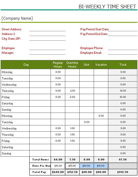 Free Printable BiWeekly Timesheet Template For Excel – Time Sheet Template
