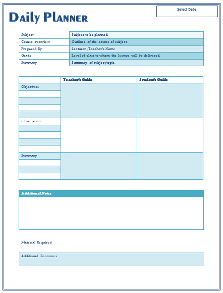 Daily Lesson Plan Template For Teachers - Blank daily lesson plan template