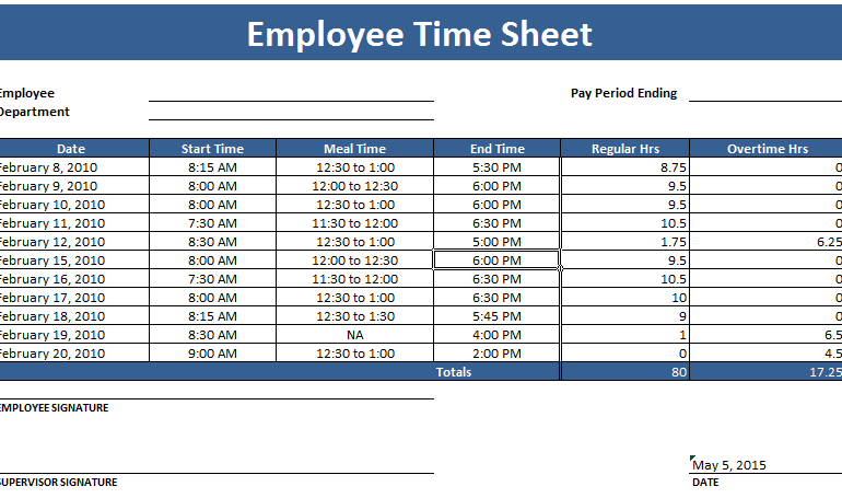Employee Timesheet Template – Weekly and Monthly