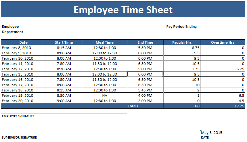 employee timesheet template for Excel