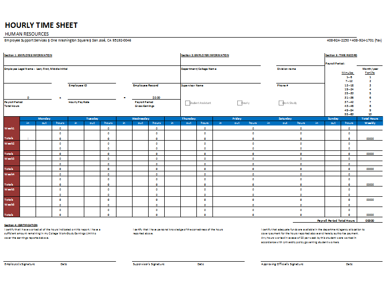 Hourly Timesheet Template for Excel®