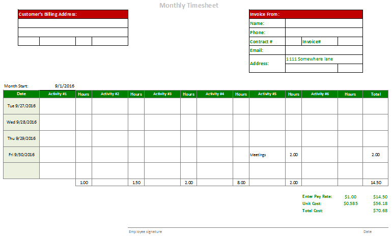 Monthly Timesheet Template With Many Calculators