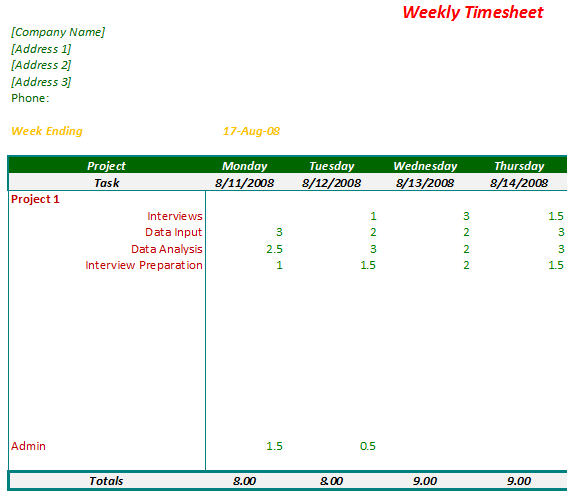 Weekly Timesheet for Consultants and Project Managers