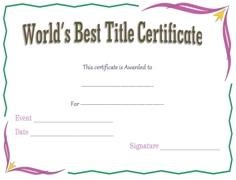 Award Certificate Template for World's Best Title