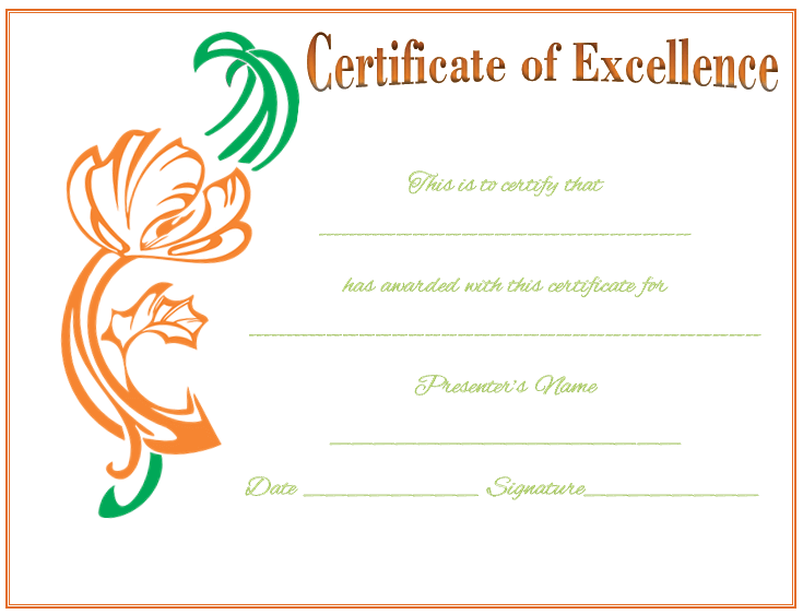 Award of Excellence Template for Word