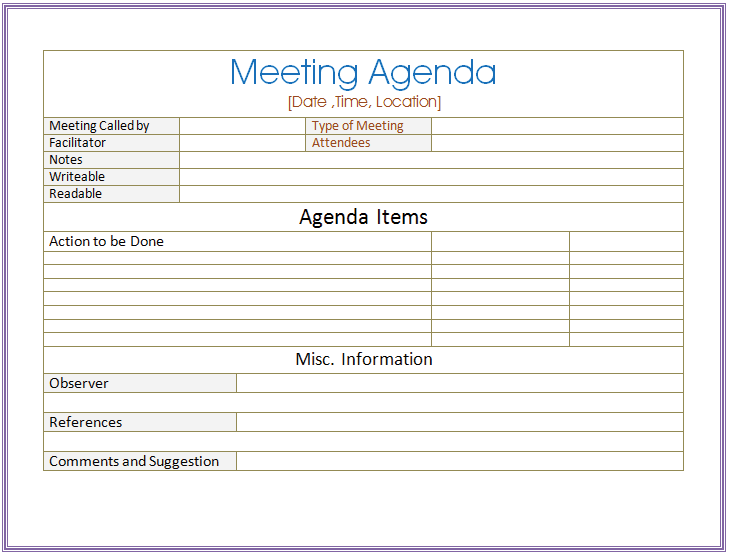 Basic Meeting Agenda Template Formal Informal Meetings – Agenda for a Meeting Template