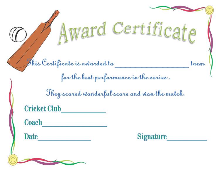 Cricket Team Spirit Award Certificate for Word