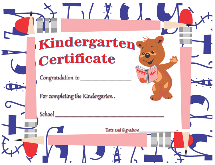 Free Printable Kindergarten Diploma Certificate Template for Word