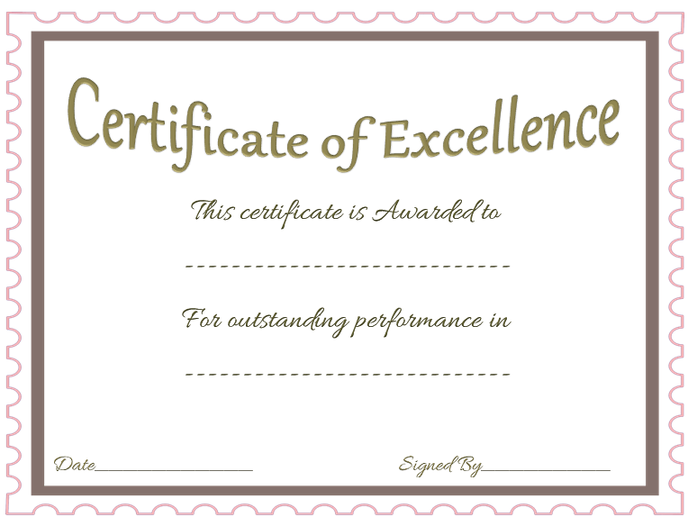 Award Of Excellence Template For Microsoft Word  Excellence Award Certificate Template