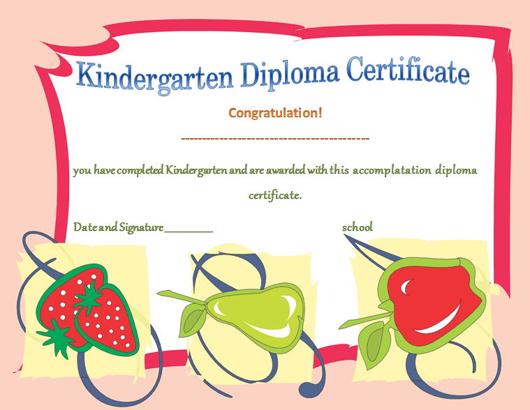 Kindergarten Diploma Certificates Template for Kids