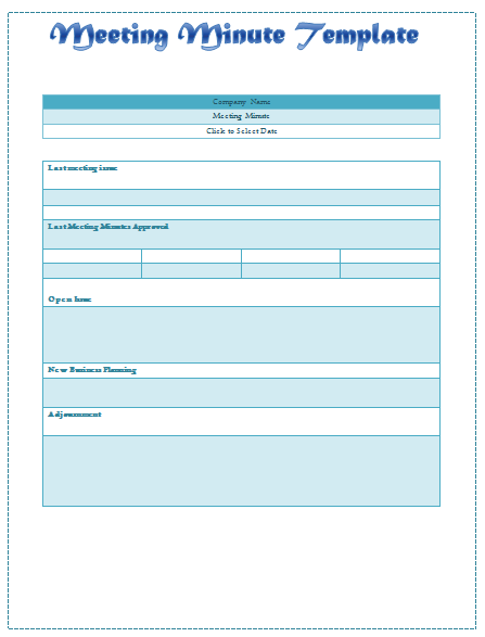 Meeting Minutes Template Sample for Word